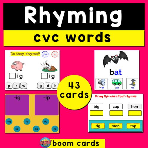 Rhyming CVC Words Boom Cards