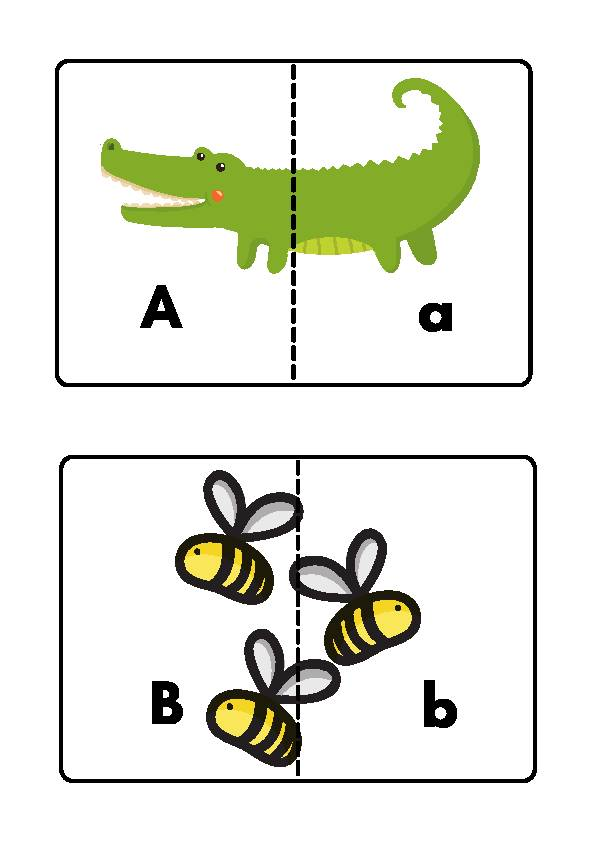 Animal Matching Upper and Lower Case Puzzle Game Cards