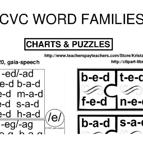 CVC WORD FAMILIES: CHARTS AND PUZZLES