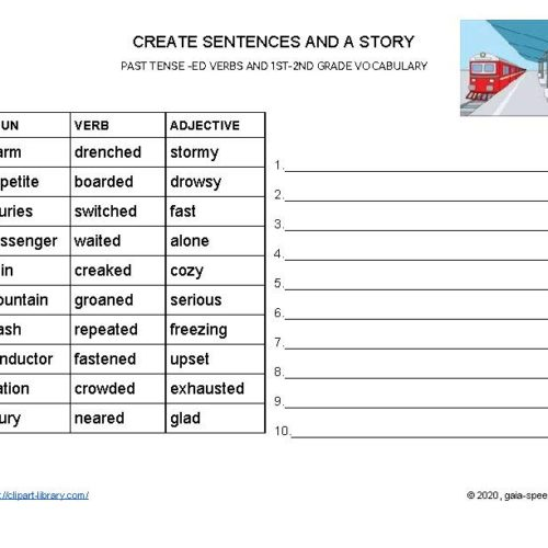 PAST TENSE -ED VERBS: Create sentences and stories using 1st and 2nd grade vocab