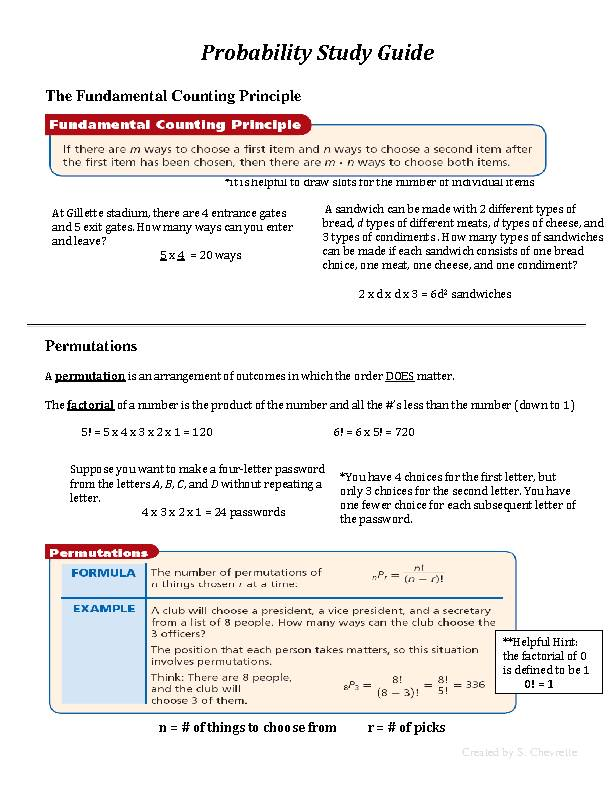 Probability Study Guide!