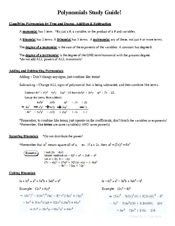 Polynomials Study Guide!