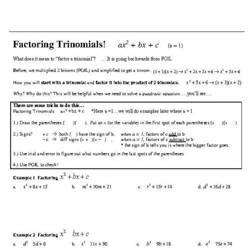 Factoring Quadratic Trinomials - Notes and Worksheets