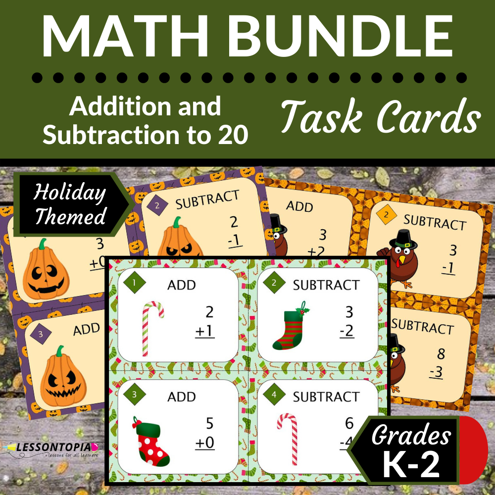 Addition and Subtraction Within 20 | Task Cards | Holiday Bundle