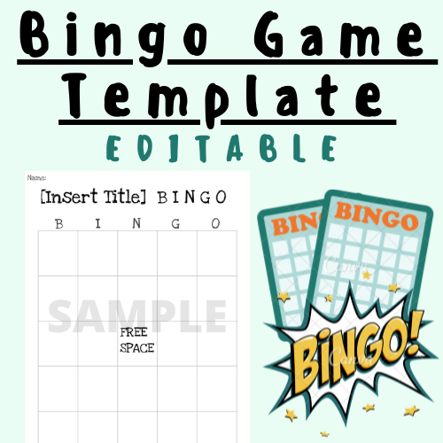 [EDITABLE] Bingo Game Template For K-12 Teachers and Students In The Classroom