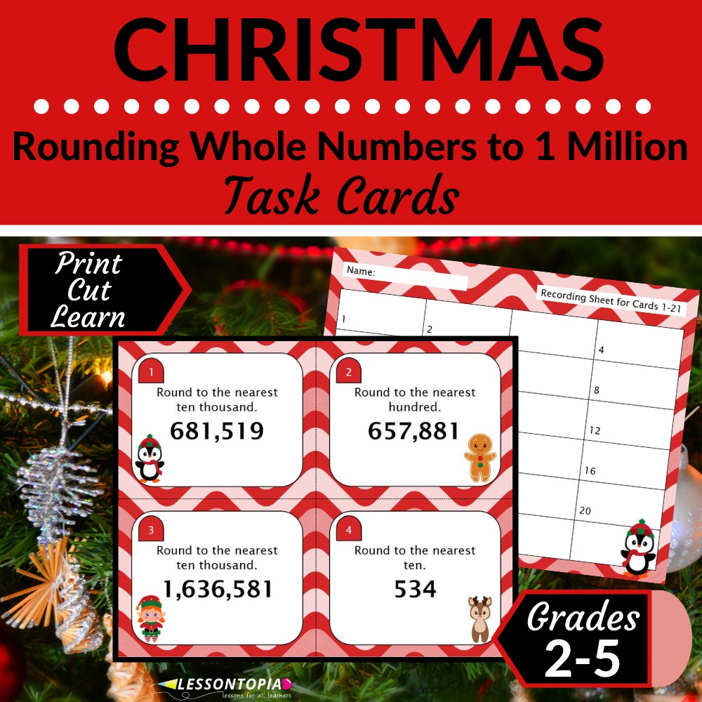 Rounding Whole Numbers | Task Cards | Christmas