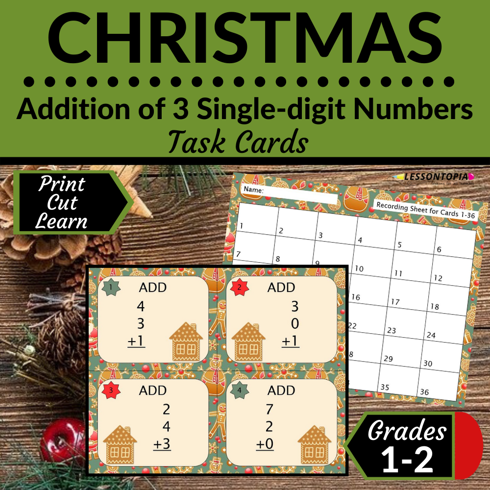 Adding 3 Single Digit Numbers | Task Cards | Christmas