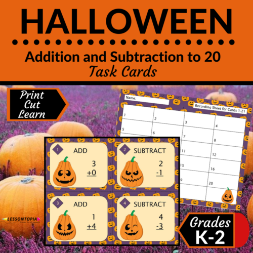 Addition and Subtraction Within 20 | Task Cards | Halloween