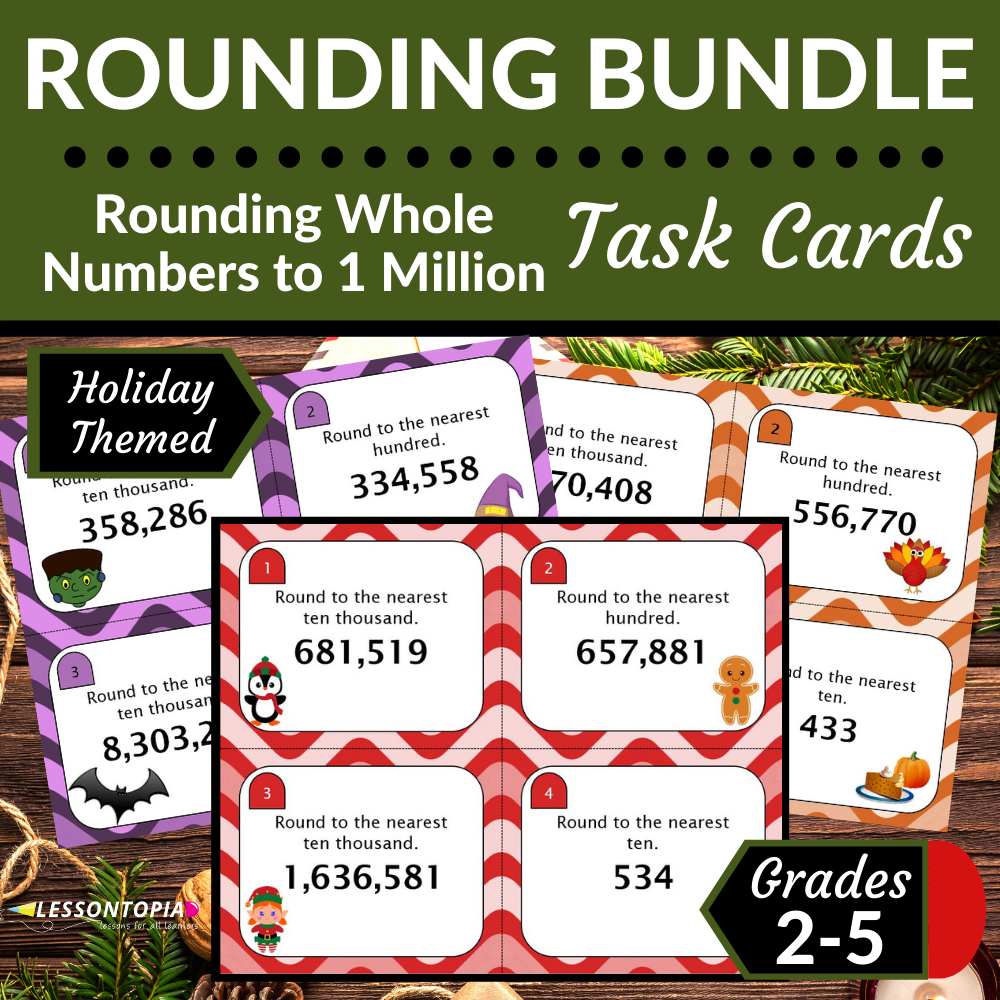 Rounding Whole Numbers | Task Cards | Holiday Bundle