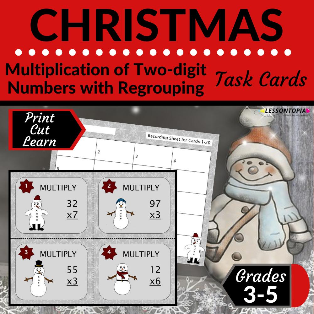 2-Digit Multiplication | Task Cards | Christmas