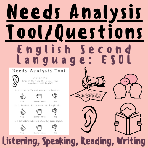 Needs Analysis Tool/Questionnaire: English Second Language, ESL, ESOL, ELL Teachers and Students in the Classroom