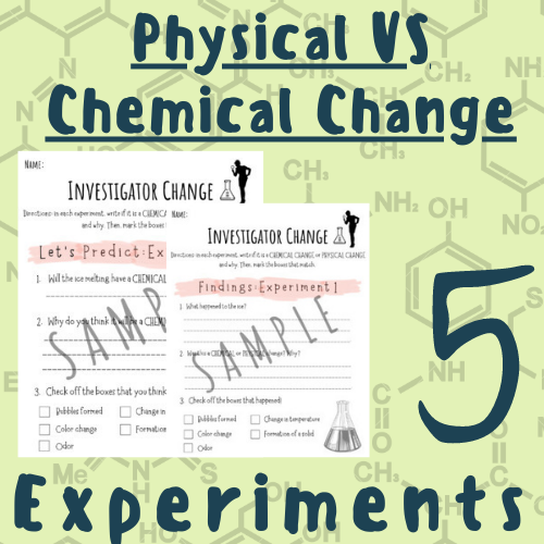 Chemical VS Physical Change 5 Experiments [Sheets, How-to, Stations] For K-5 Teachers and Students in the Science Classroom